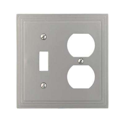 Tiered 1 Toggle 1 Duplex Combination Wall Plate - Satin Nickel Cast