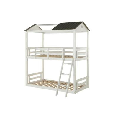 Nadine Cottage Weathered White and Washed Gray Twin Over Bunk Bed