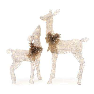 led lighted white pvc deer and 28 in led lighted white pvc - Christmas Deer Yard Decorations