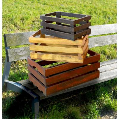 19 in. x 12 in. x 8 in. Wooden Decorative Old Colored Crates, Set of 3 Sizes