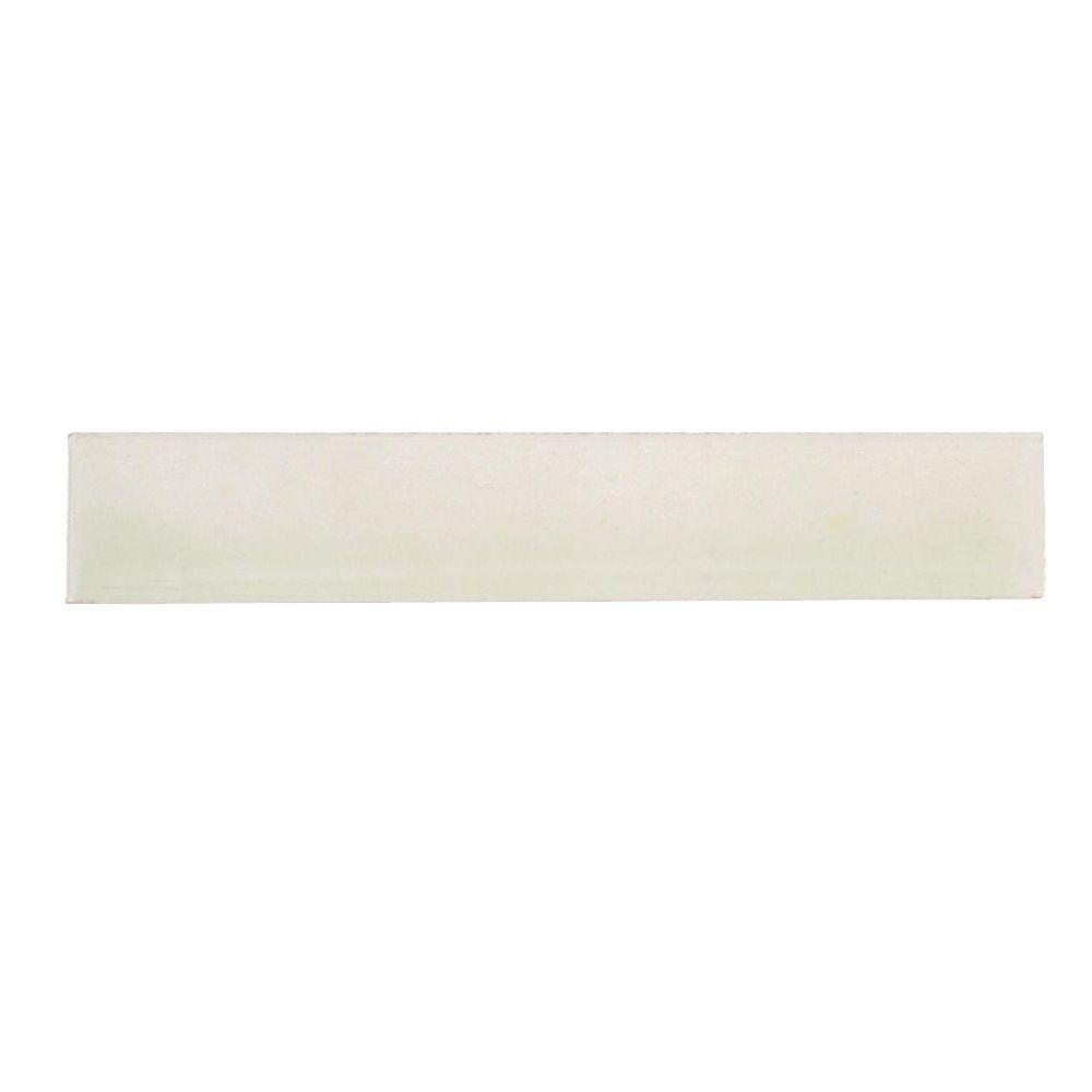 Hand-Painted Nieve White 1 in. x 6 in. Ceramic Pencil Liner