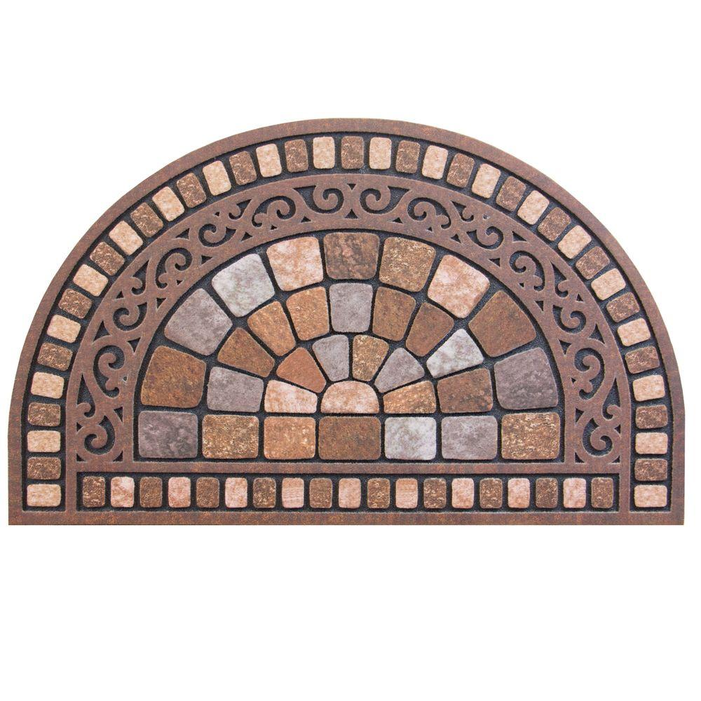 Door Mat Half Round Stone 18 In X 30 Welcome Brown Oval Outdoor Floor Rug New