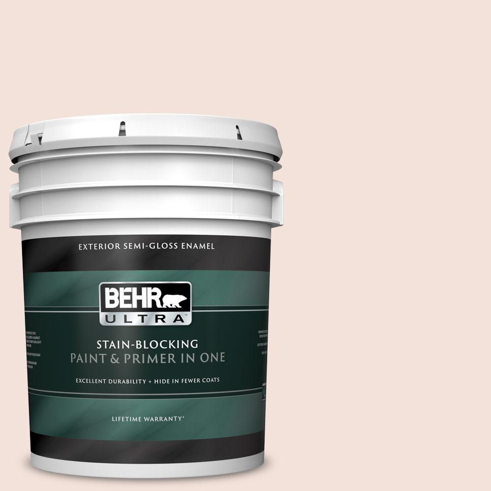 Behr Ultra 5 Gal Rd W12 Soft Sunrise Semi Gloss Enamel Exterior Paint And Primer In One 585005 The Home Depot