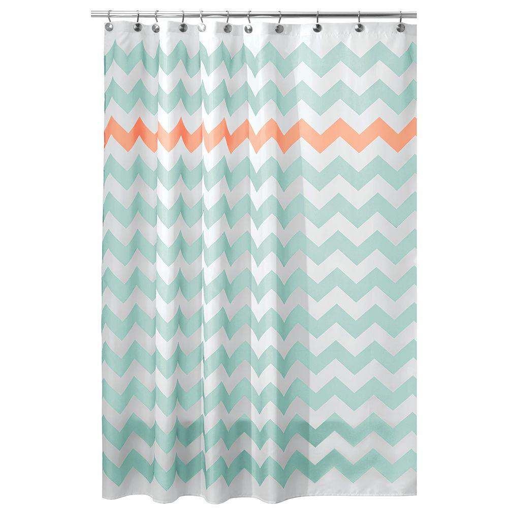 Chevron Shower Curtain In Aruba And Coral