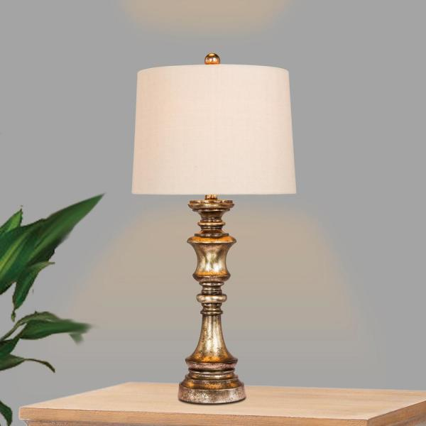 Rubbed Oil Bronze Table Lamp with Stamped Resin Base 27 in
