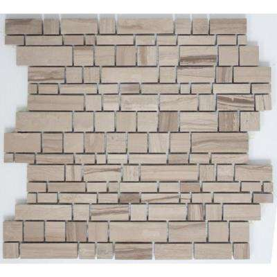 12 in. x 12 in. x 8 mm Tile Esque White Wooden Mesh-Mounted Mosaic Blend Tile