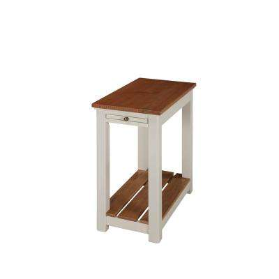 Savannah Ivory Chairside End Table with Pull-Out Shelf with Natural Wood Top