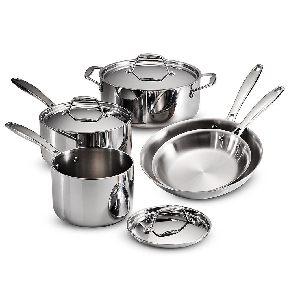Gourmet Tri Ply Clad 8 Piece Stainless Steel Cookware Set With Lids, Silver/mirror Polished