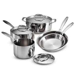 Tramontina Gourmet Tri-Ply Clad 8-Piece Stainless Steel Cookware Set with Lids by Tramontina