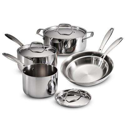 Gourmet Tri-Ply Clad 8-Piece Stainless Steel Cookware Set with Lids