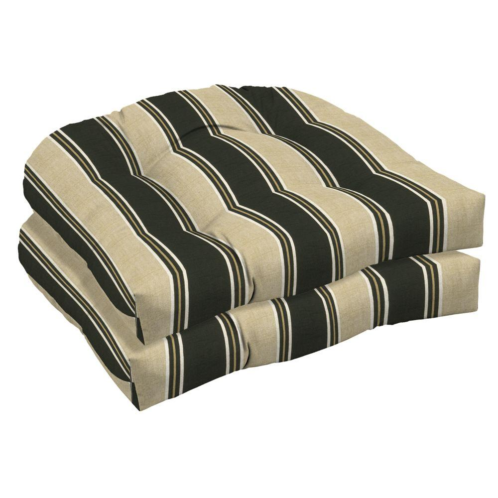 Arden Twilight Stripe Wicker Tufted Seat Outdoor Cushion 2 Pack-DISCONTINUED