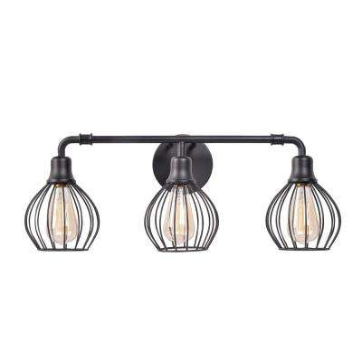 Cagney 3-Light Black Bath Vanity Light