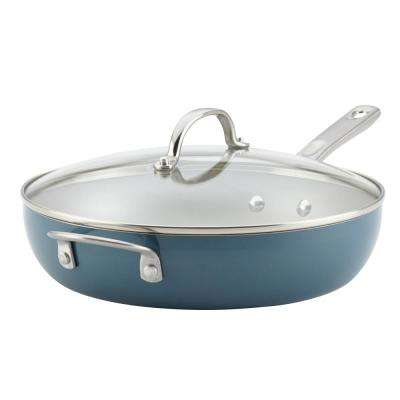 Home Collection 12 in. Porcelain Enamel Nonstick Covered Deep Skillet With Helper Handle in Twilight Teal