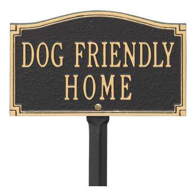 9.5 in. W x 5.8 in. H Rectangular Cast Aluminum Wall or Lawn Mounting Dog Friendly Home Statement Sign
