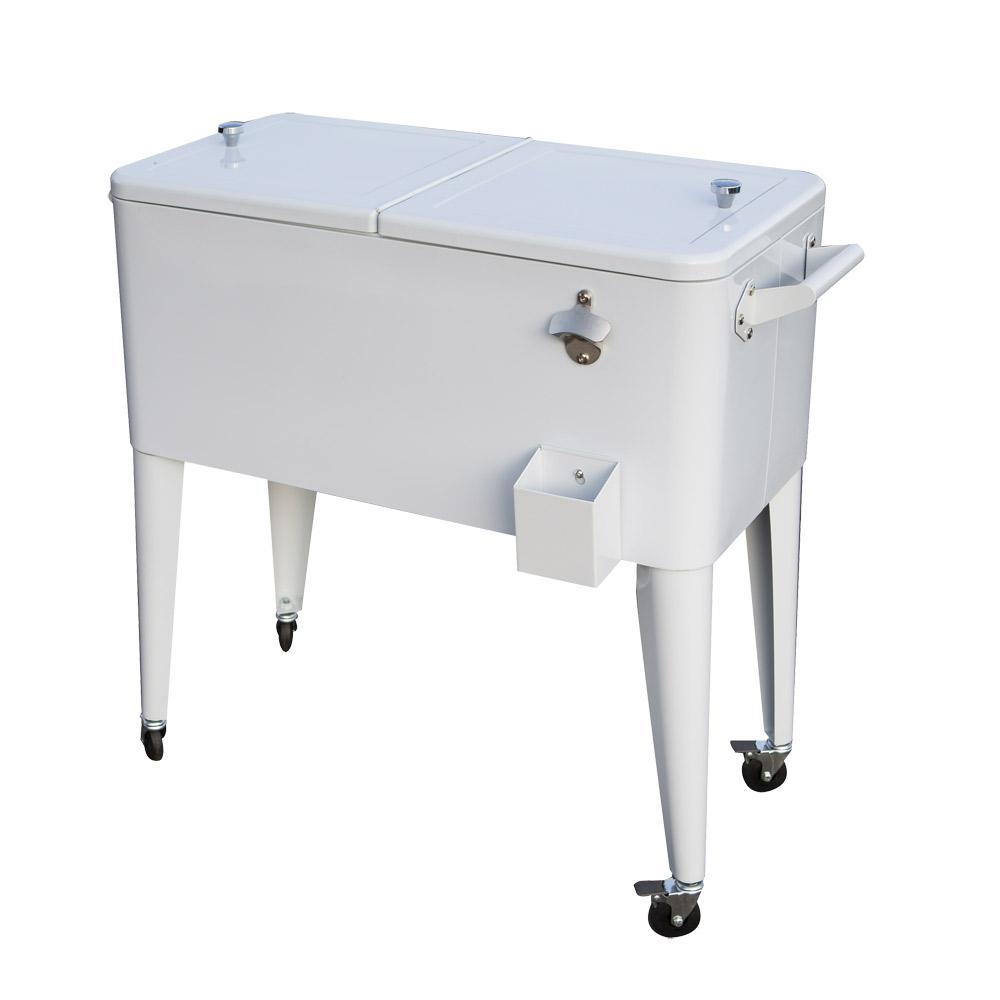 Permasteel 80 Qt. Rolling Patio Cooler in White