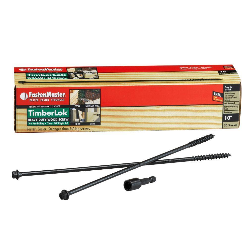 50-Count 1 FastenMaster FMTLOK10-50 TimberLOK Heavy-Duty Wood Screw 10 Inches