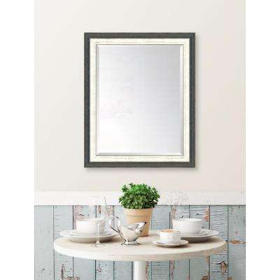 28 in. x 34 in. Framed Indigo and French White Mirror