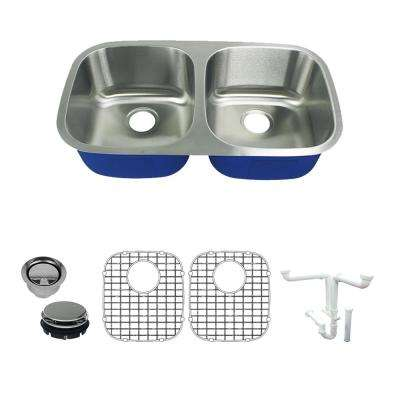 Meridian All in.-One Undermount Stainless Steel 32.4 in. 50/50 Double Bowl Kitchen Sink in Brushed Stainless Steel