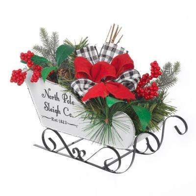 8 in. H White Metal Sleigh with Holiday Greenery and Bows