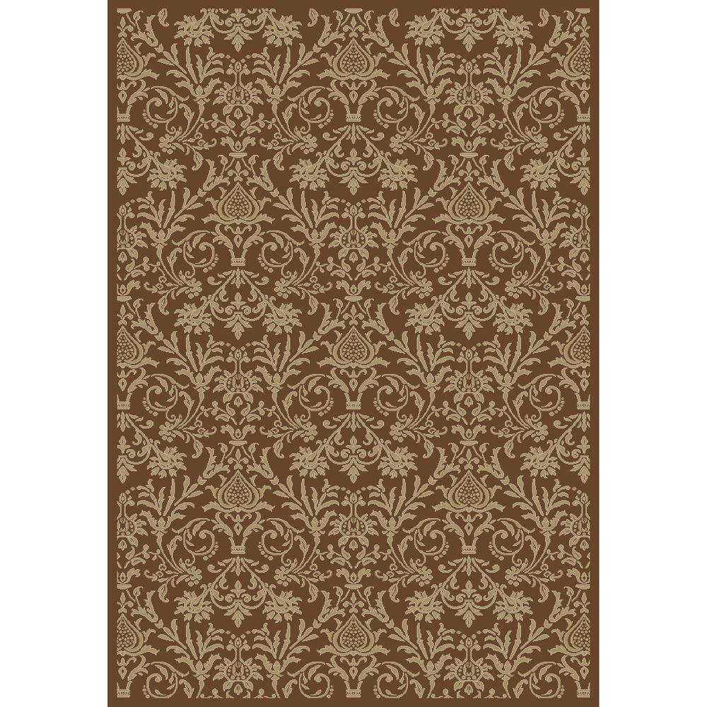 Concord Global Trading Jewel Damask Brown 3 ft. 11 in. x 5 ft. 7 in. Area Rug