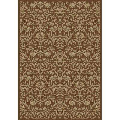 Jewel Damask Brown 5 ft. 3 in. x 7 ft. 7 in. Area Rug