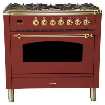 36 in. 3.55 cu. ft. Single Oven Italian Gas Range True Convection, 5 Burners, Griddle, LP Gas, Brass Trim in Burgundy