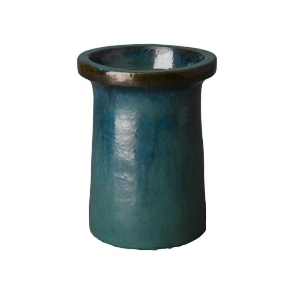 Emissary 21 In H Turquoise Ceramic Round Plateau Planter 12886tq 1 The Home Depot