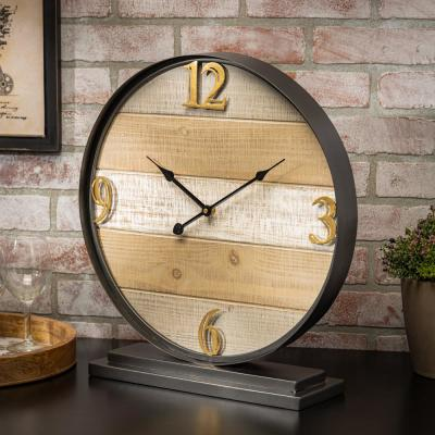 Wooden Table Clock with Black Frame