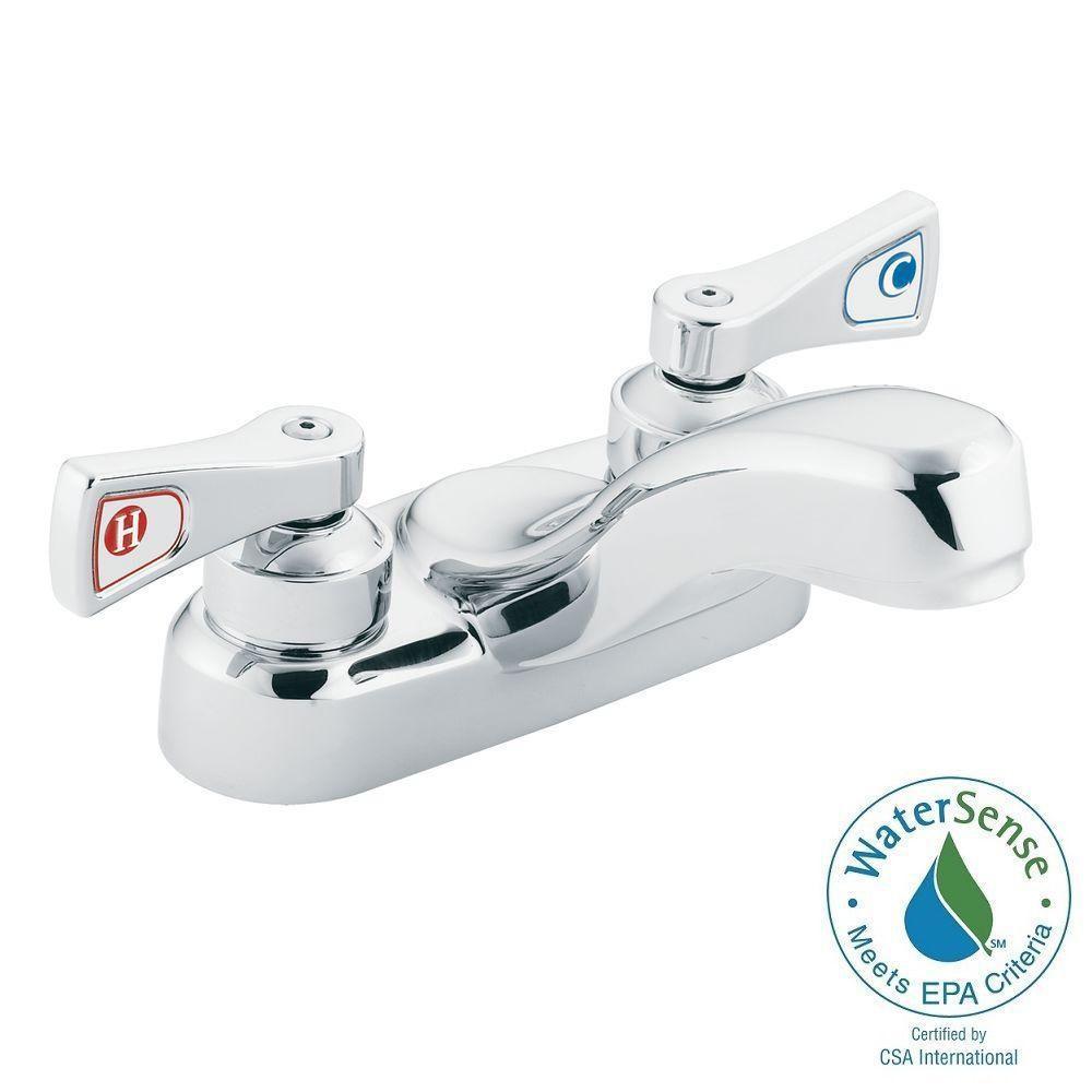MOEN M-Dura 4 in. Centerset 2-Handle Bathroom Faucet in Chrome-8210 ...