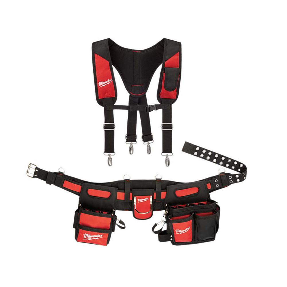 Milwaukee Electricians Adjustable Work Belt and X-Large Padded Rig