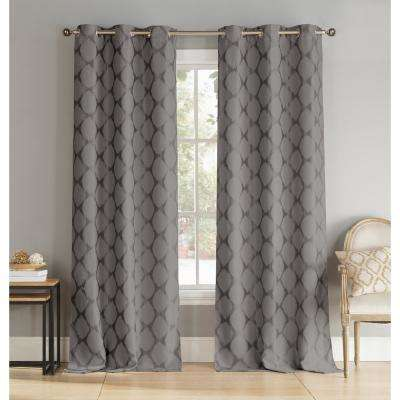 Henrietta 36 in. x 96 in. L Polyester Blackout Curtain Panel in Dark Grey (2-Pack)