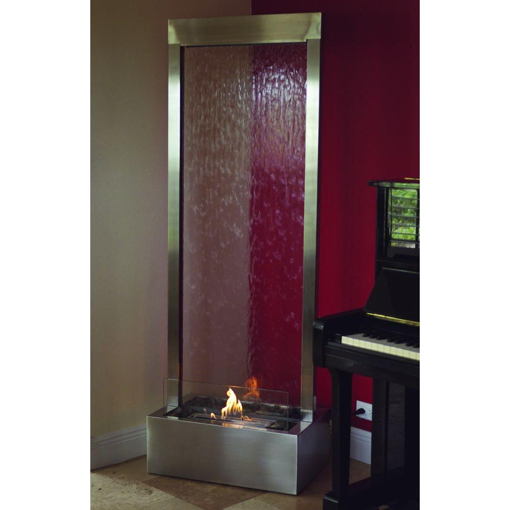 nu flame 6 ft gardenfall bio ethanol fire fountain in stainless