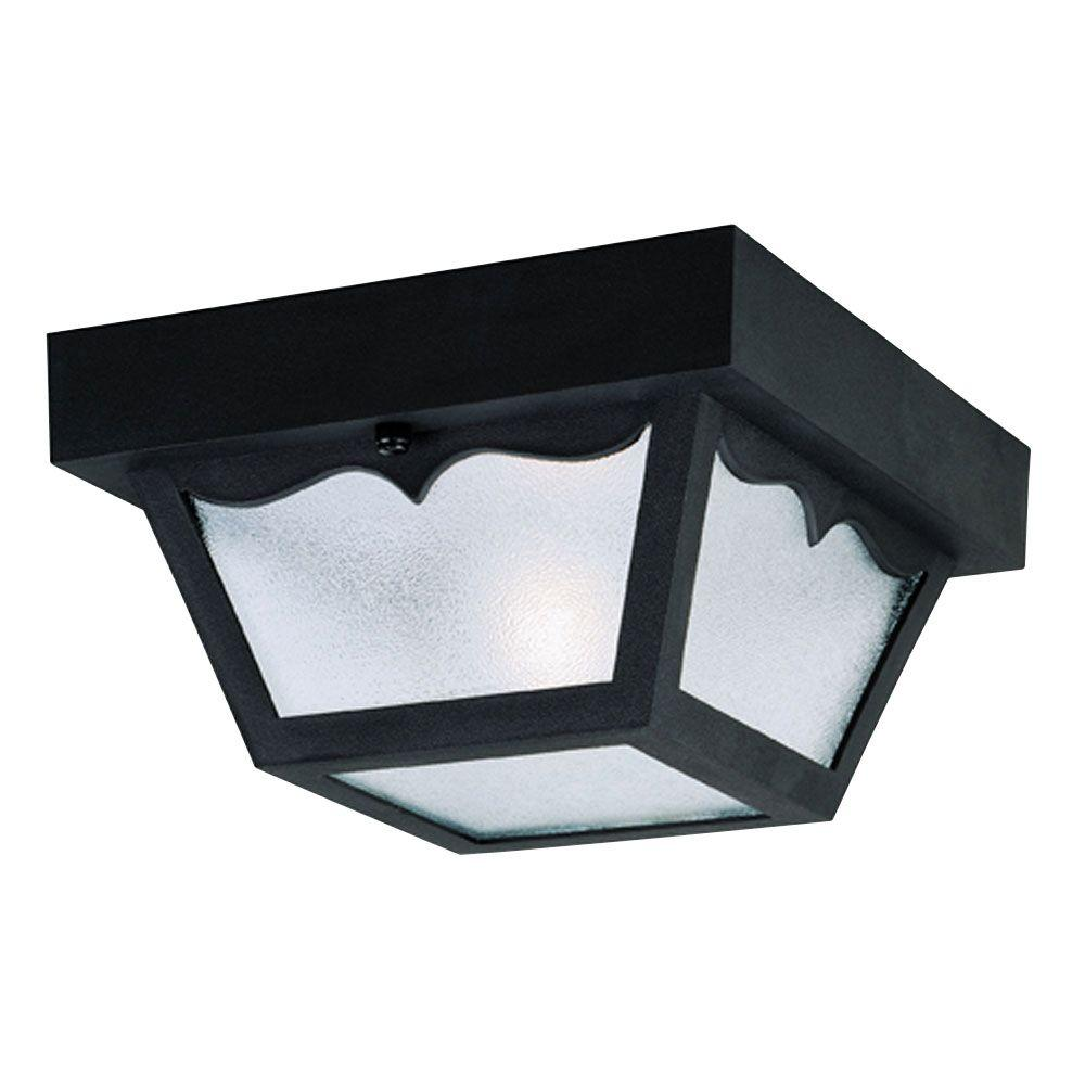 Westinghouse 1 Light Black Hi Impact Polypropylene Flush Mount Exterior Fixture With Clear Textured Gl Panels