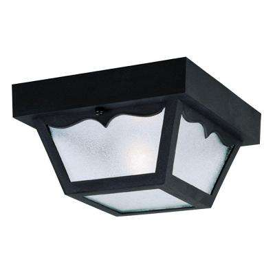 1-Light Black Hi-Impact Polypropylene Flush-Mount Exterior Fixture with Clear Textured Glass Panels