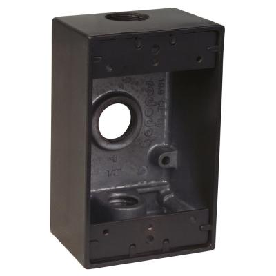 1-Gang Rectangular Weatherproof Box with 3 1/2 in. Holes -Bronze (Case of 16)