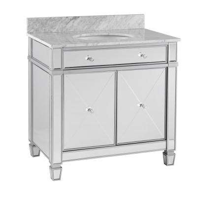 Pavel 33.3 in. W x 22.5 in. D Double-Door Bath Vanity in Mirrored Finish with Gray Marble Vanity Top with White Basin
