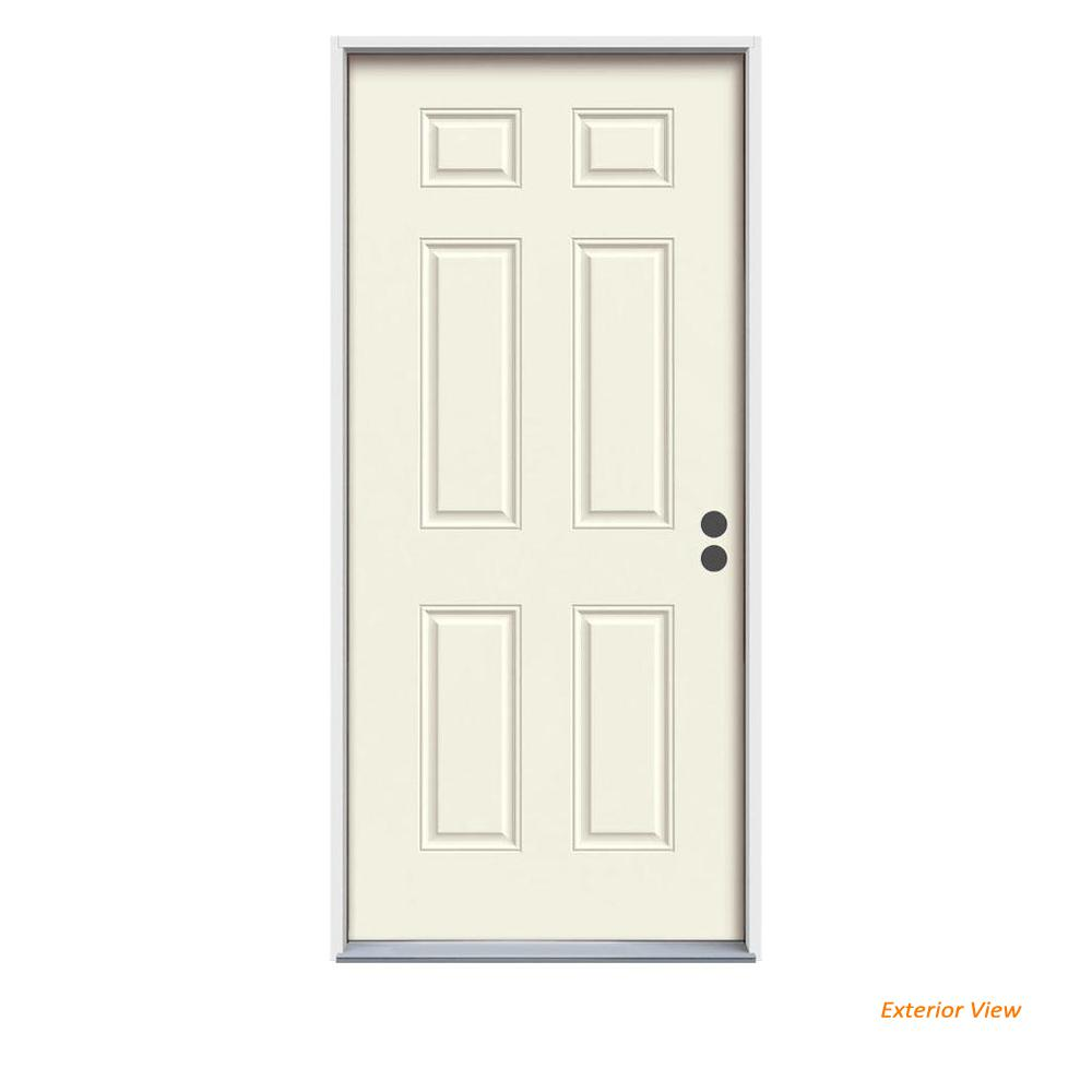 Jeld Wen 36 In X 80 In 6 Panel Primed Steel Prehung Left Hand Inswing Front Door Thdjw166100294 The Home Depot