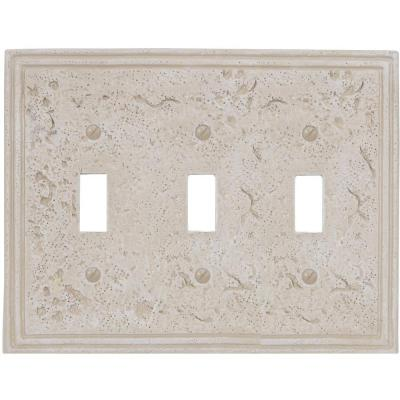 Faux Stone 3 Gang Toggle Resin Wall Plate - Almond