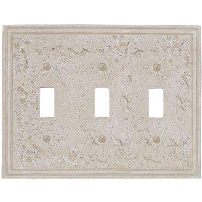 Texture Stone 3 Toggle Wall Plate - Almond