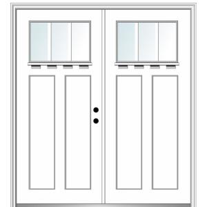 Mmi Door 64 In X 80 In Shaker Left Hand Inswing 1 Lite Clear Low E Painted Fiberglass Smooth Prehung Front Door With Shelf Z028537l The Home Depot