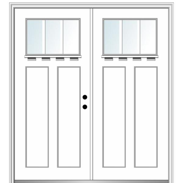 Mmi Door 64 In X 80 In Shaker Left Hand Inswing 3 Lite Clear Low E Painted Fiberglass Smooth Prehung Front Door With Shelf Z028541l The Home Depot