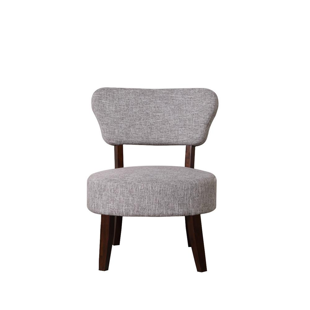 Gray White Round Seat Accent Chair