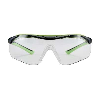Black/Green, Brow Guard Eyewear with Clear Lens