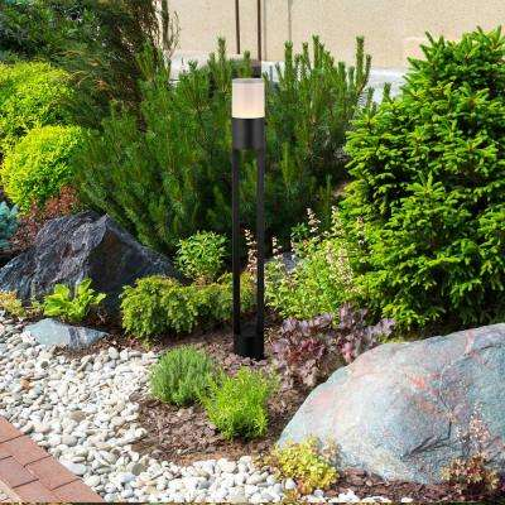 6-Watt Black Outdoor Integrated LED Bollard Landscape Path Light