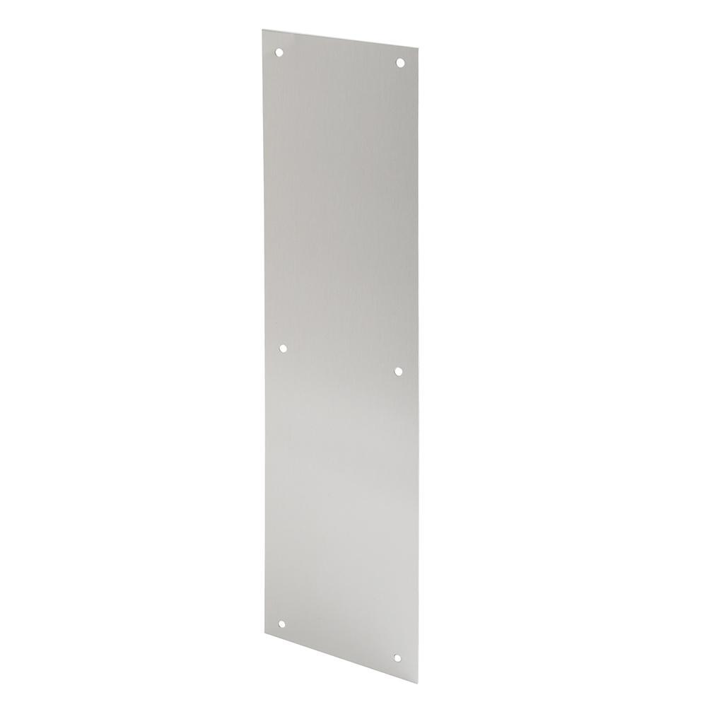 4 in. x 16 in., Aluminum, Satin, Push Plate