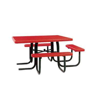 46 in. x 55 in. Diamond Red Commercial Park Surface Mount and Portable ADA Square Table