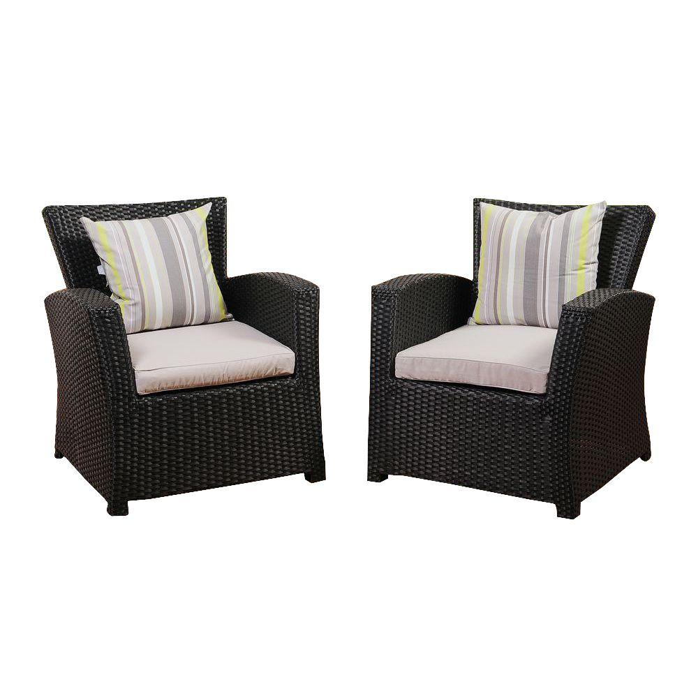 Amazonia atlantic 2 piece bradley black synthetic wicker patio armchair set with light grey cushions