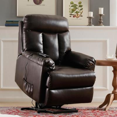 PU Leather Brown Recliner Power Lift Chair