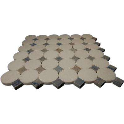 Orbit Satellite 12 in. x 12 in. x 8 mm Marble Mosaic Floor and Wall Tile