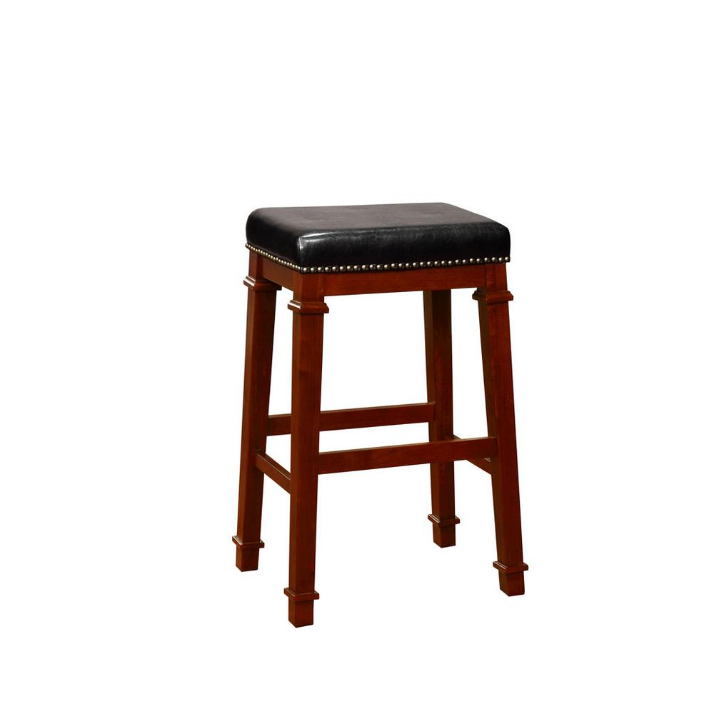Kennedy 30 in. Dark Cherry Cushioned Bar Stool
